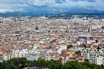 Wall Mural - Marseille, France panorama. View from the Notre Dame de la Garde