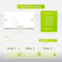 Web elements collection set. Buttons, Sliders, Media Player, Log