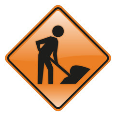 construction work road and traffic sign