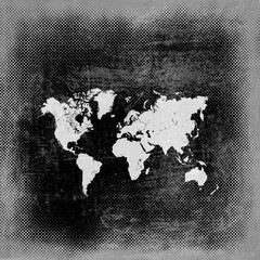 Map world on paper background