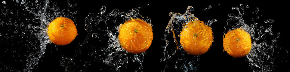 Set of fresh oranges in water splash