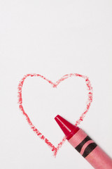 Red Crayon Drawn Heart