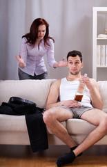 Man ignoring his girlfriend's words