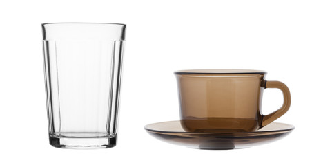 Tea cup and faceted glass