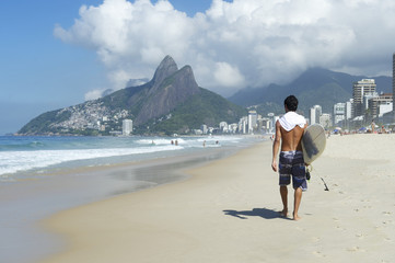 Brazilian Surfer Ipanema Beach Rio Brazil