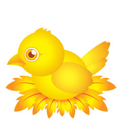 golden bird baby cartoon character with feather