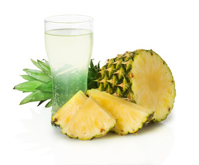 pineapple and pineapple juice on the white background