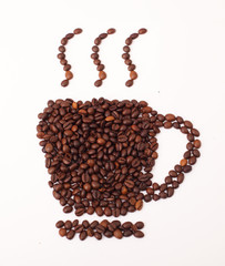 Coffee cup and steam made from beans