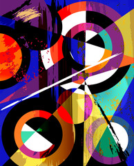 abstract geometric design  circles, triangles, paint st