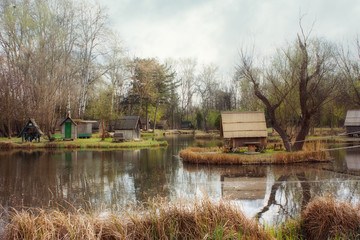 Fishing pond and lodges