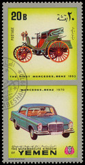 YEMEN - CIRCA 1970: Yemen 3c stamp commemorates first Mercedes B