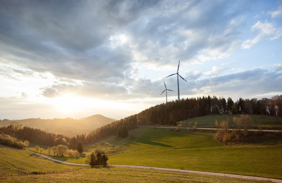 wind power mills in black forest landscape, Germany