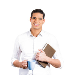 Confident student, worker holding book cup of coffee