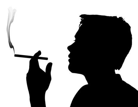 Teen Boy Silhouette Smoking Cigarette