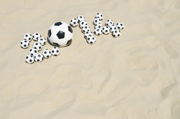 Soccer 2014 Footballs Message Beach