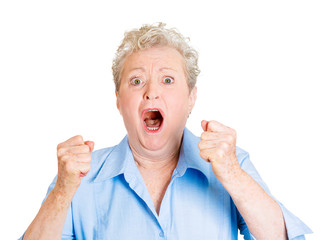 Angry older lady, screaming isolated on white background