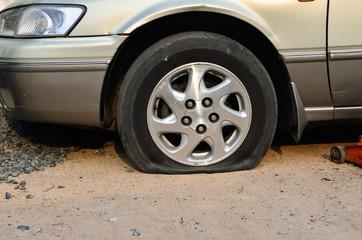 Flat tire on car