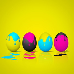 Funny Easter eggs - Cyan, magenta, yellow, black color - CMYK co