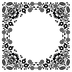 Polish floral folk black pattern - wzory lowickie