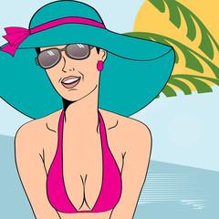 Hot pop art girl on a beach