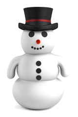 realistic 3d render of snowman