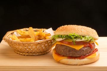 Hamburger and chips I