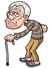 Vector illustration of Cartoon Old man
