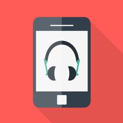 Smartphone. Flat design. Headphones icon