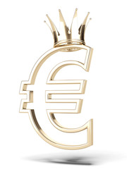 Golden euro currency with crown