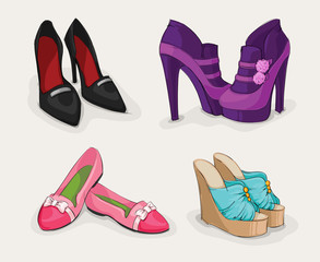Fashion collection of woman's shoes