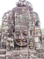 Stone Face Towers at Bayon in Angkor Thom, Cambodia