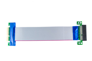 Flexible PCI-E x4 to PCI-E x4 riser card isolate on white backgr