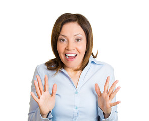 Happy surprise. Woman in disbelief, unexpected life event