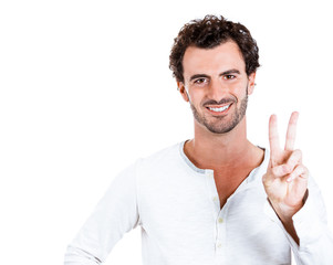 Victory, peace or two sign. Happy man on white background