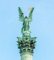 Archangel Gabriel on top of column at Heroes square in Budapest,