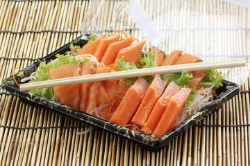 Fresh Salmon sashimi set in the box
