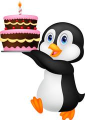 Cute penguin holding birthday cake