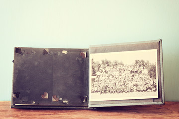 old photo album. vintage filter. room for text