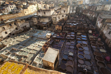Tanneries of Fes, Morocco, Africa