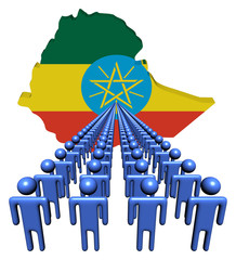 Lines of people with Ethiopia map flag illustration