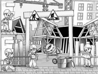 Foto auf AluDibond Gezeichnet Straßenkaffee Construction set - coloring page