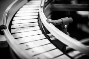 Small conveyor belt closeup