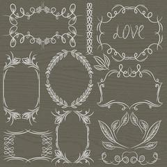 floral decorative borders, ornamental rules, dividers, vector