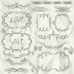 floral decorative borders, ornamental rules, dividers, frame, ve