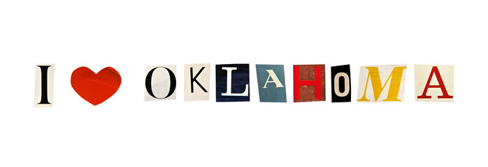 I Love Oklahoma formed with magazine letters
