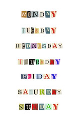 The weekdays formed with magazine letters on a white background