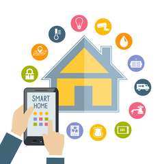 Hand holding mobile phone controls smart home