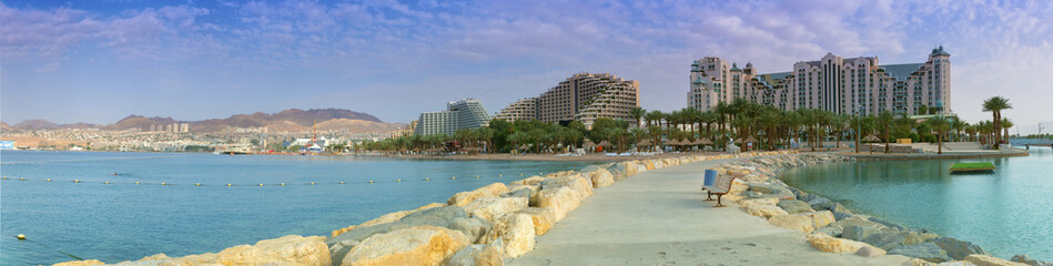 Panoramic view on the central beach of Eilat, Israel