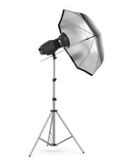Studio strobe light flash with umbrella.