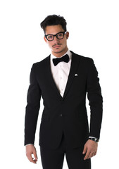 Handsome elegant young man with suit and glasses